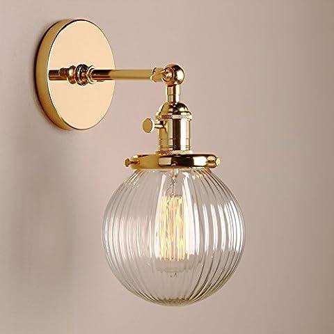 Pathson Antik Deko DesignGestreifte Kleine Kugel Glas innen Wandbeleuchtung Wandleuchten Loft-Wandlampen Wandbeleuchtung (Gold