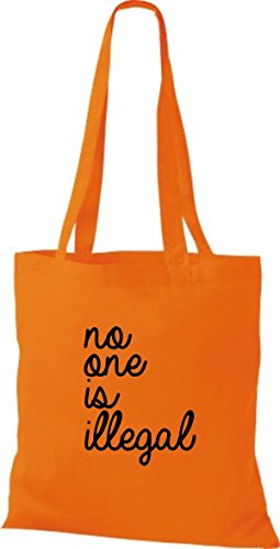 ShirtInStyle Stoff-beutel Baumwolltasche no one is illegal, niemand ist illegal, Bleiberecht Farbe Weinrot orange