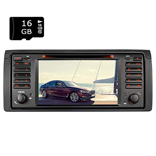 "7"" AUTORADIO MIT 16GB SD Karte DVD GPS Navigation USB SD Bluetooth Autoradio CD Moniceiver+Bluetooth+ Dual Zone+Subwoofer+DAB+Mirrorlink+VMCD Für BMW E39 (5er, M5) E53 (X5)"