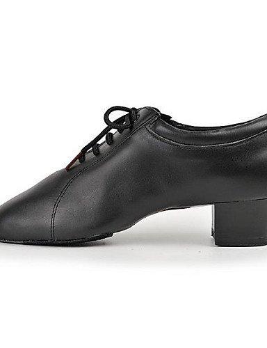 ShangYi Chaussures de danse ( Noir ) - Non Personnalisables - Talon Bas - Cuir - Latine Black