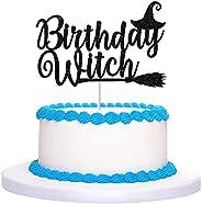 CAVLA Black Glittery Birthday Witch Cake Topper Halloween Witch Cake Topper Halloween Birthday Decorations Hal
