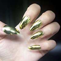 BloomingBoom 24 Pcs 12 Size Stiletto Pointed False Nail Long Full Cover Fake Nail Press on Salon Pre Design Women Claw Mountain Peak Mirror Metallic Effect Gold Golden