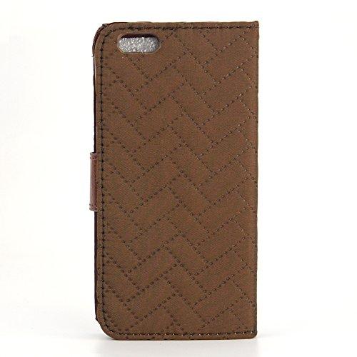Apexel Étui portefeuille en cuir motif Chiffon préparer Étui de protection avec porte-cartes, stylet et film protecteur d'écran HD pour 14cm iPhone 6Plus–Vert armée, noir, 14*7.3*1.7 Café