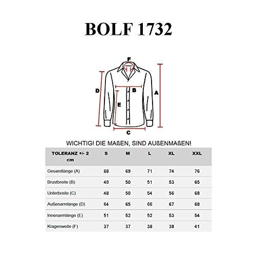 BOLF Herren Langarm Herrenhemd Figurbetont Freizeit Slim 1732 Schwarz