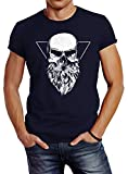Neverless Herren T-Shirt Totenkopf mit Bart Triangle Slim Fit Navy XL