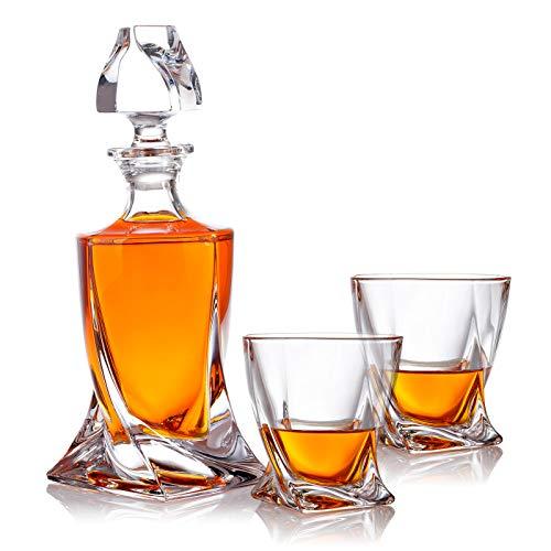 polar-effekt 3-TLG Karaffe Gläser Whisky-Set - Geschenkset aus Glas - Whiskey Dekanter 800ml mit 2 Whiskygläser 300ml für Rum, Scotch, Cognac - Geschenk-Idee für Männer