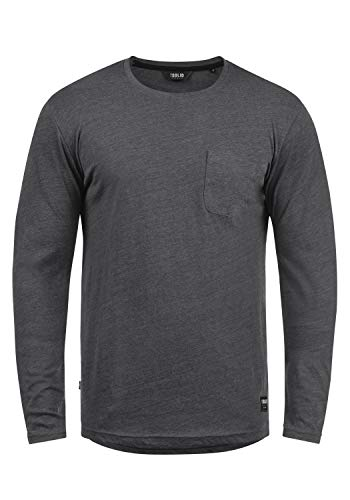 Button Down Long Sleeve Henley (!Solid Bobo Herren Longsleeve Langarmshirt Shirt Mit Rundhalskragen, Größe:L, Farbe:Dark Grey Melange (8288))