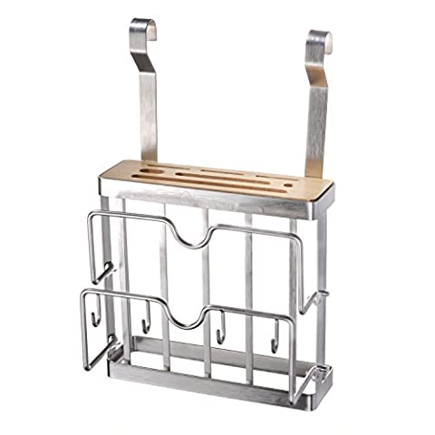 Knife Block, Maxtronic Bamboo 6 Slots Knife Holder Organizer Knife Storage Without Knives Stainless Steel 1 Slot Cutting Board Rack Kitchen Utensils Holder with 4 Hooks,