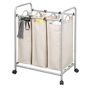 mDesign Wäschesortierer mit 3 Fächern und Rollen - praktischer Wäschekorb aus Metall und Polyester - geräumige Wäschebox fürs Bad oder die Waschküche - silberfarben und cremefarben