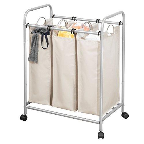 MDesign Cesta ropa sucia 3 compartimentos ruedas -