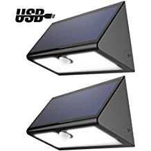 46 LED Luces Solares de Pared Impermeable Foco Exterior con Sensor de Movimiento Lámpara Iluminación de Exterior para Jardín Camino Patio Escaleras (Negro 2PCS)