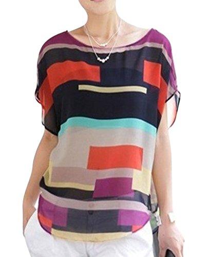 Femmes Casual Lâche Mousseline De Soie Tops T-Shirt Blouses Plage Haut Chemiser Multicolore