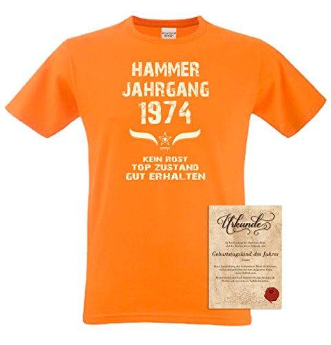 Geschenk-Set zum 43. Geburtstag : Fun T-Shirt & Urkunde : Geburtstagsgeschenk Geschenkidee für Männer : Übergrößen bis 5XL : Hammer Jahrgang 1974 Farbe: orange Orange