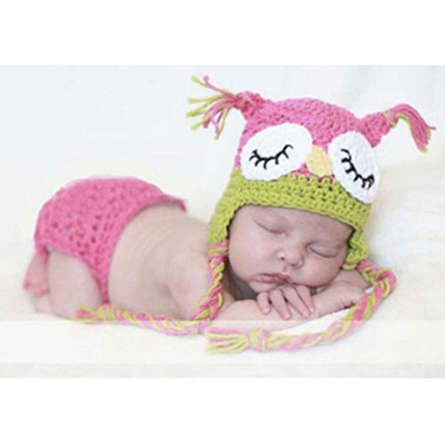 Pixnor süße Eule Style Baby Kleinkinder Neugeborenen Hand gestrickte häkeln Hut Kostüm Baby Fotografie Requisiten Set (Baby Mädchen Eule Kostüme)