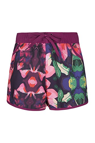 Mountain Warehouse Patterned Womens Board Shorts - Easy Care Ladies Swim Shorts, Adjustable Waist Beach Shorts, Lightweight Short Pants - for Surfing, Pool & Swimming