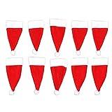 Rouku 10 Pezzi Decorazioni Natalizie Cappelli Natalizi Copri coltelli in Tessuto Non Tessuto Copri Posate in Tessuto Decorativo Rosso