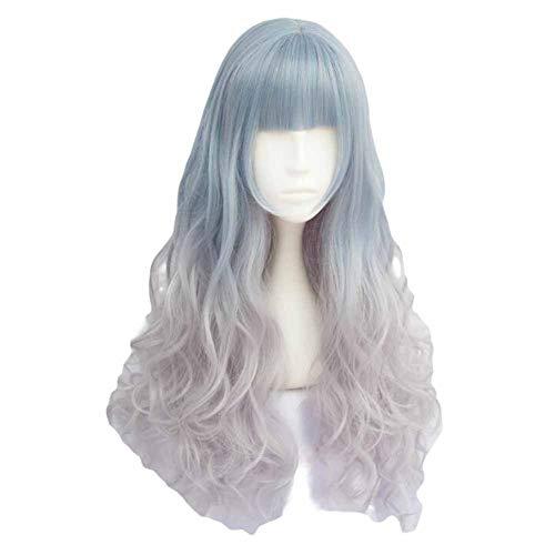 Fading Bleu/Gris cendré 65 cm 2 cosplay ton pleine perruque de longs cheveux bouclés
