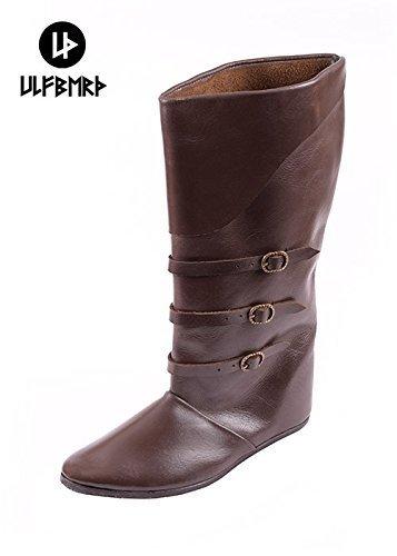 Schnallenstiefel, lacets de style médiéval en cuir marron foncé bottes lARP brun foncé