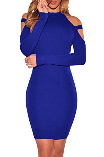 YMING Damen Rollkragen Etuikleid Businesskleid Kleid Slim Fit Midi Kleid Bodycon...