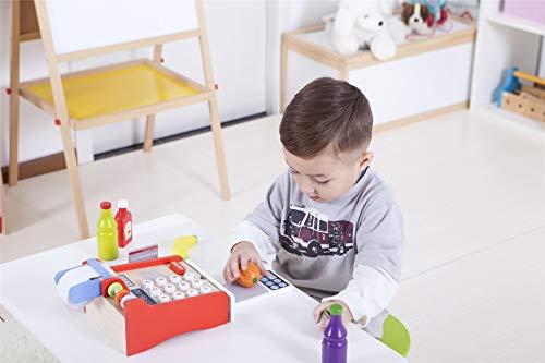 Lelin Wooden Cash Register Childrens Shop Grocery Checkout Till Toy, Multicoloured