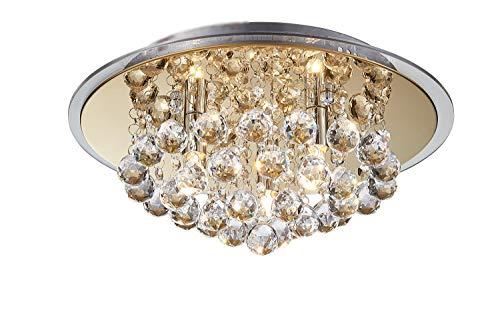 Saint Mossi Plafoniera a semirotondi tonda a soffitto, pannello in vetro trasparente, finitura oro, diametro 37,5 cm