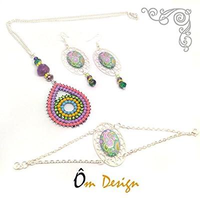 Parure Paisley multicolores -cabochons et perles-