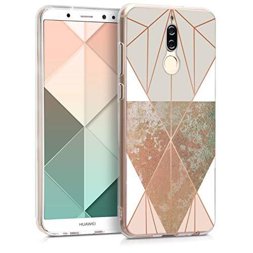 kwmobile Huawei Mate 10 Lite Hülle - Handyhülle für Huawei Mate 10 Lite - Handy Case in Glory Dreieck Design Beige Rosegold Weiß