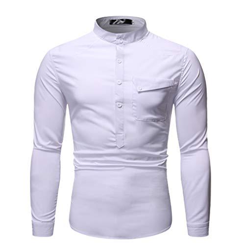 DNOQNHerren Top Long Sleeved Slim Fit T Shirts Laufshirt Langarm Herbst Winter Beiläufig Stehkragen Knopf Solide Langarm Top Bluse XL