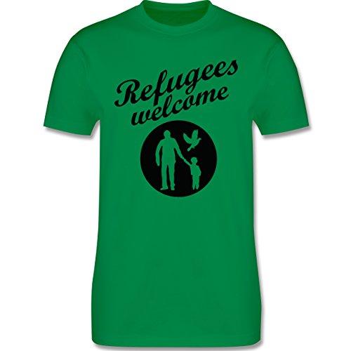 Statement Shirts - Refugees welcome - Herren Premium T-Shirt Grün