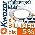 5er Set K-15 Einbaustrahler Inkl Gu10 230v Fassung - Chrom Poliert Silberglnzend von Kwazar