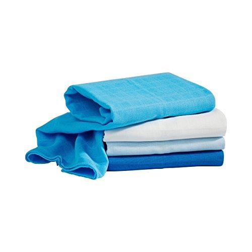 (4er-Pack) - Moltontücher 80x80cm in Webqualität aus reiner Baumwolle - Mulltücher in mehreren Farbtönen ()