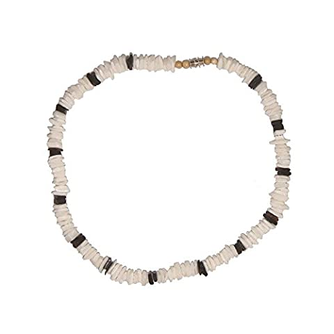 Puka Shell Necklace White and Black Chips Men's & Ladies' Choker Surfer Hawaiian Jewelry Shell Surf Puca Beads 18 by Hawaiian Heirloom Jewelry