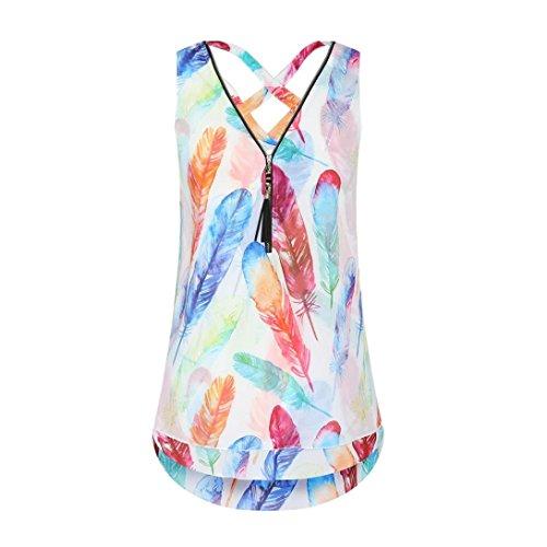 ESAILQ Damen Collection Damen Tagless T-Shirt Basic mit V-Ausschnitt(M,Mehrfarbig)
