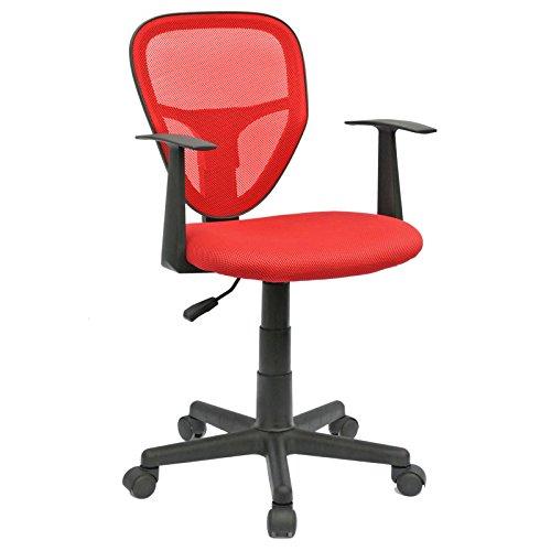 CARO-Möbel Schreibtischstuhl Kinderdrehstuhl Bürostuhl Drehstuhl Studio in rot mit Armlehnen, höhenverstellbar
