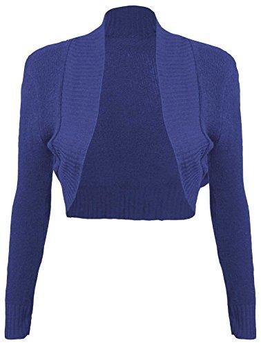 Baleza femme à manches longues et ouvert Boléro en tricot Cardigan haut court Bleu - Bleu roi