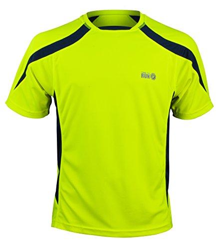 Camiseta De Manga Corta De Tejido Absorbente Para Running/Gimnasio/Entrenamiento de Time to Run Amarillo / Azul Marino L