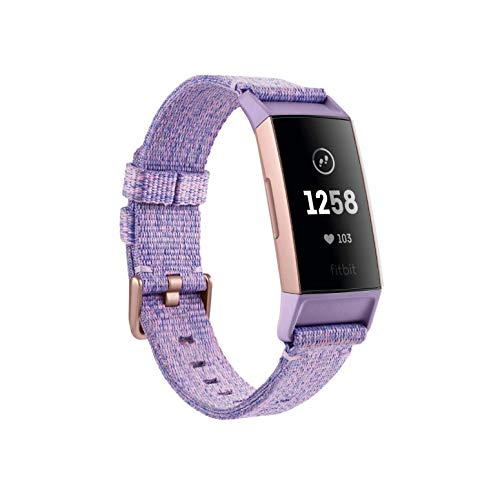 Fitbit Charge 3 Special Edition Gesundheits und Fitness-Tracker, Lavendel Gewebe, Aluminium-Roségold