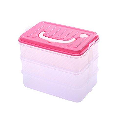 KOBWA Gefrierschrank Vorratsbehälter mit Deckel, Dreifach-Schichten Lebensmittel Aufbewahrungsbehälter Durchsichtig Kunststoff BPA Frei, Wiederverwendbar, Gefrierfach Küche Space Saver Organisation