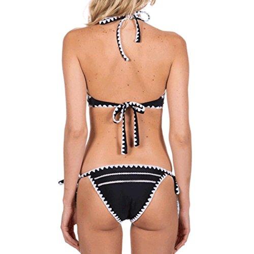 2017 Maillot de Bain, Xinan Femmes Swimwear Bikini Set Sexy Bandage Beachwear Noir