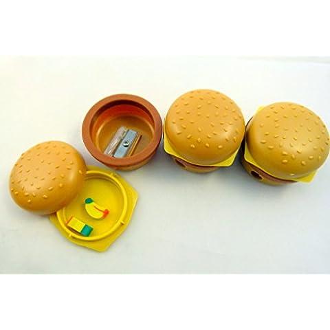 Partido Bolsa Paquete de 4 Fast hamburguesa comida sacapuntas con 2 pequeños borradores de banano