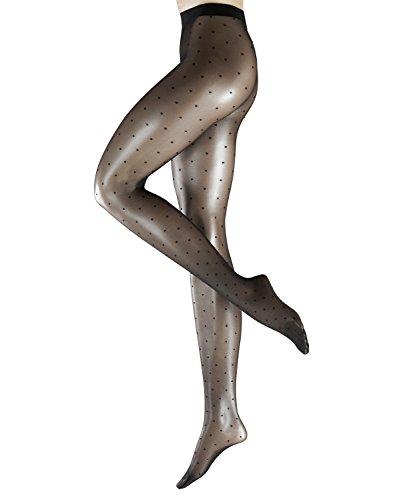 Dot Strumpfhose (FALKE Damen Strumpfhosen Dot 15 den - 1 Paar, Gr. M, schwarz, matt transparent, mit Pünktchen)
