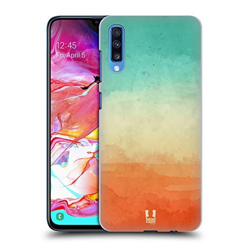 Head Case Designs Zyan Und Orange Aquarell Ombre Harte Rueckseiten Huelle kompatibel mit Samsung Galaxy A70 (2019) - Orange Aquarell