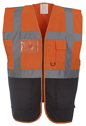 Gilet ad alta visibilità multi-funzionale Executive (HVW801) Orange/ Black