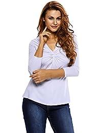 EOZY Femmes Col V Manches Longues Casual Haut Tops T-Shirt