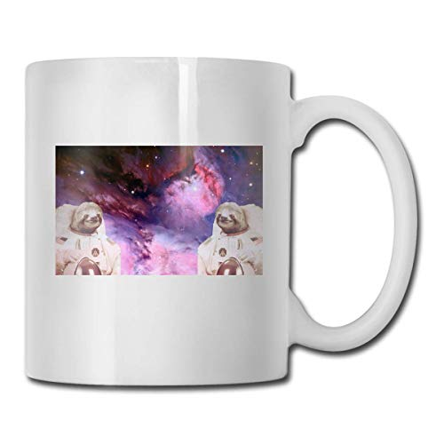 Daawqee Becher Porcelain Coffee Mug Space Sloth Ceramic Cup Tea Brewing Cups for Home Office