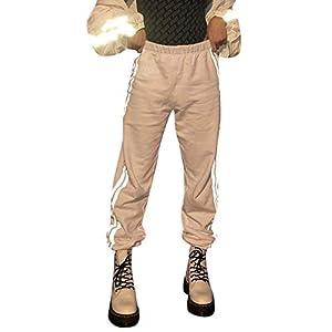 Mosstars Pantalones de Trabajo de Mujer Reflectantes Pantalones de chándal Cinturón Salvaje Pantalones Anchos Hombre Hip Hop Pantalones Ocasionales Pantalones Deportivos Fitness