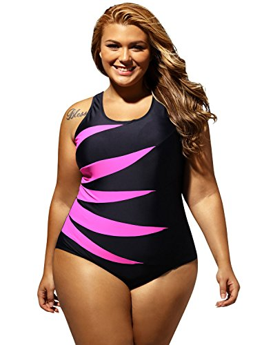 Aleumdr Womens Rosy Splicing Color Block Black One Piece Monokini Bathing Suit X-Large