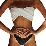 SARAFA Maillot De Bain Femme Couleur Unie Split Bikini Ensemble De Bikini Uni pour Femme Soutien-Gorge Push-Up Maillot De Bain Beachwear