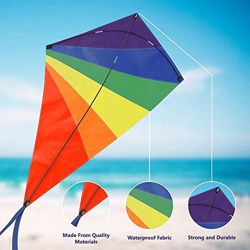 Einleiner Drachen für Kinder und Erwachsene - Drachenflieger Flugdrachen, Drachen steigen Spiele mit 50m starke Drachenschnur und Spule, Robust Nylon Kinderdrachen mit Fiberglas Stäben