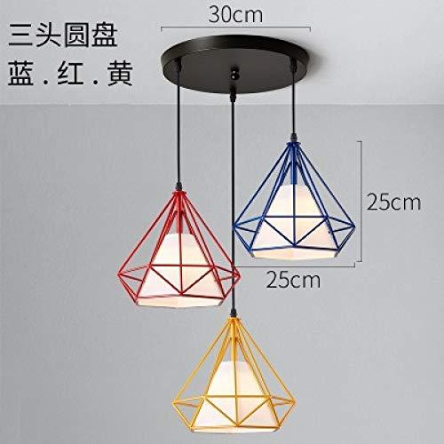 Einzelgang Diamant-Kronleuchter kleine Dreikopf-Scheibenkombination - rot + gelb + blau mit monochromer 9-Watt-Weißlicht-LED-Lampe